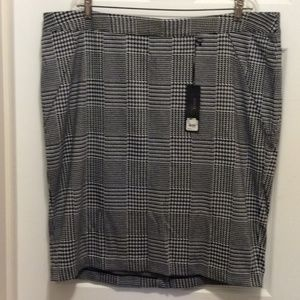 Lane Bryant Ponte Skirt 22W Black White Straight
